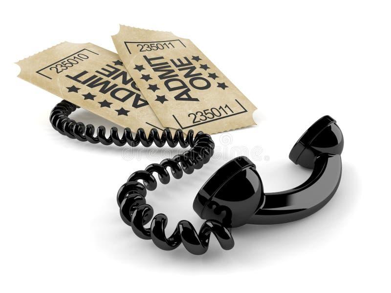 Telefonlur med biljetter royaltyfri illustrationer