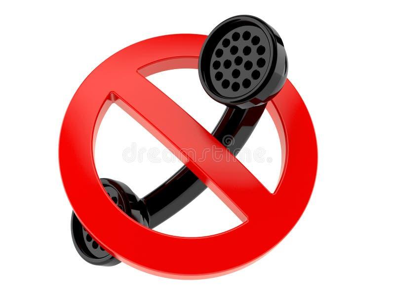 Telefonlur med det förbjudna tecknet royaltyfri illustrationer