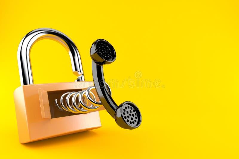 Telefonlur med hänglåset royaltyfri illustrationer