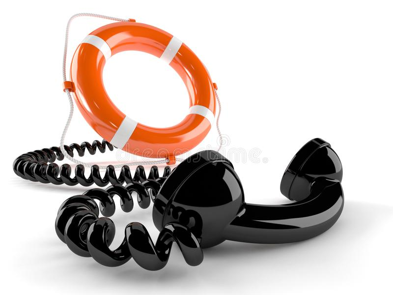 Telefonlur med livbojet stock illustrationer