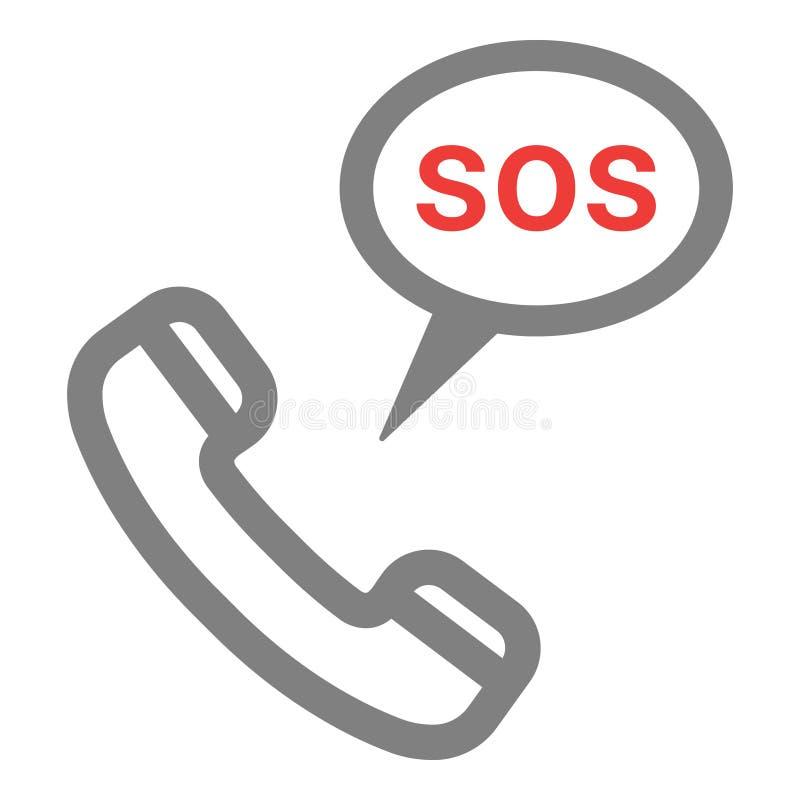 Telefonlur med Sos-symbolen Räddningstjänstpåringningillustration Nöd- samtalkontaktlogo kvast isolerad white vektor illustrationer