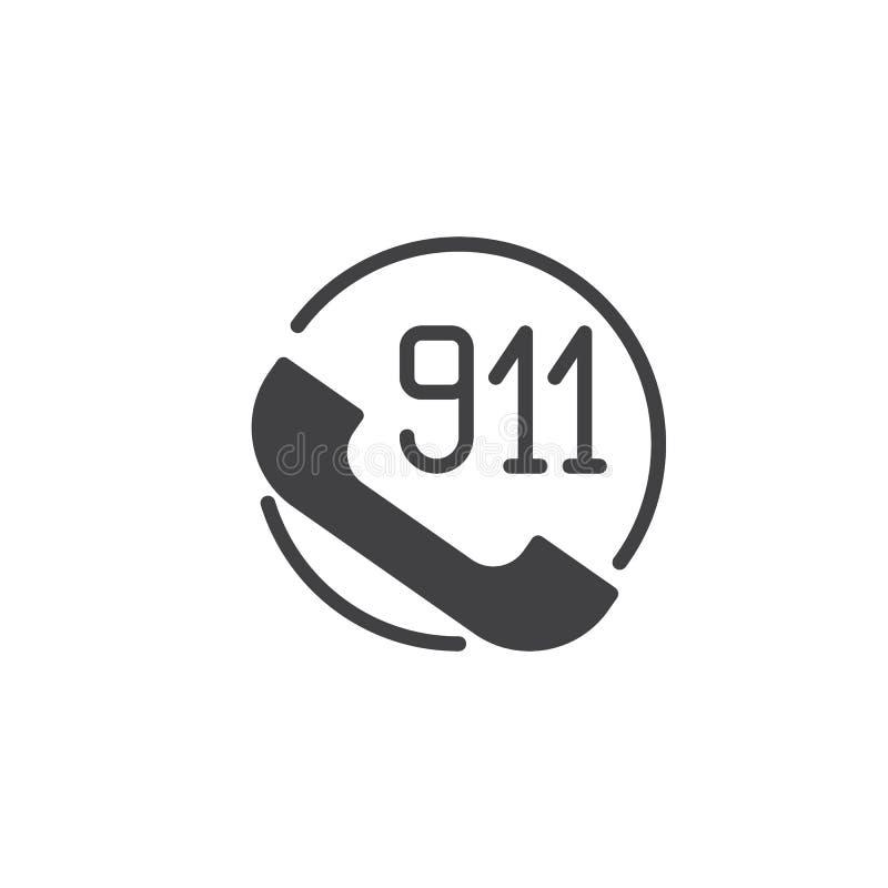 Telefonlur med vektorn för 911 symbol stock illustrationer