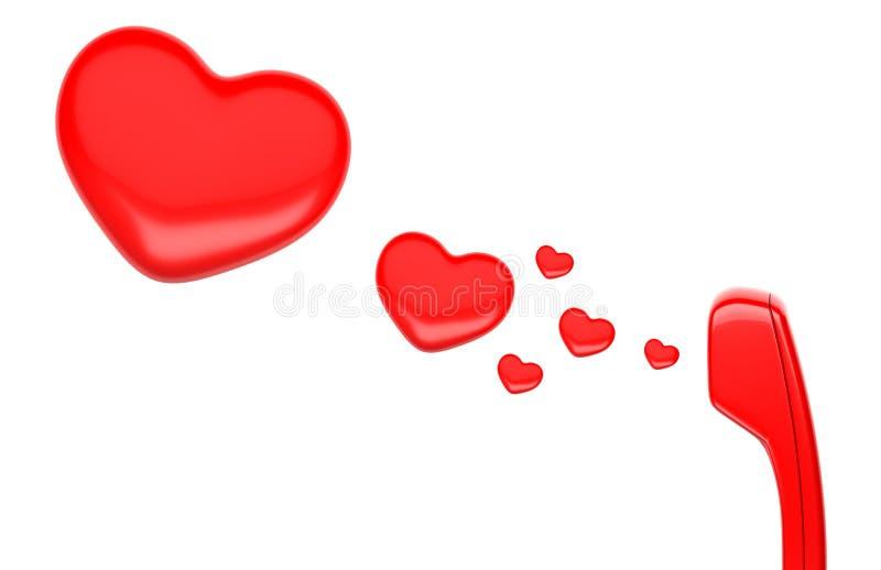 Telefonlur och hjärta stock illustrationer