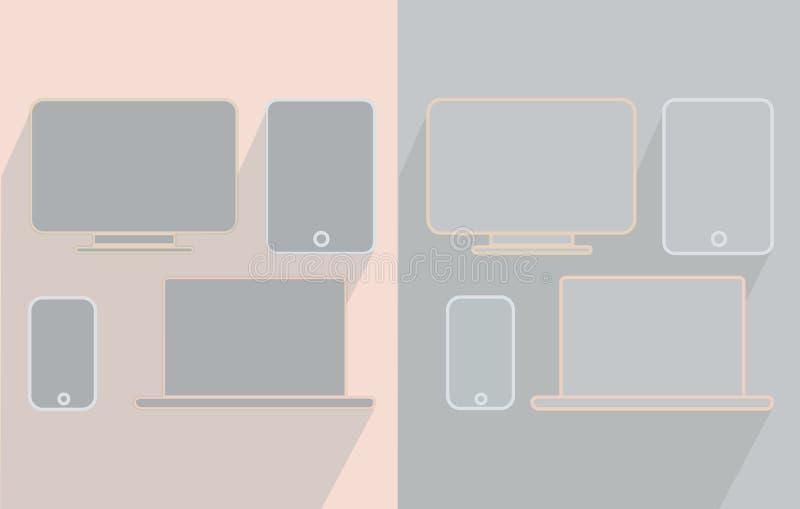 Telefonminnestavlabärbar dator och bildskärm royaltyfria foton