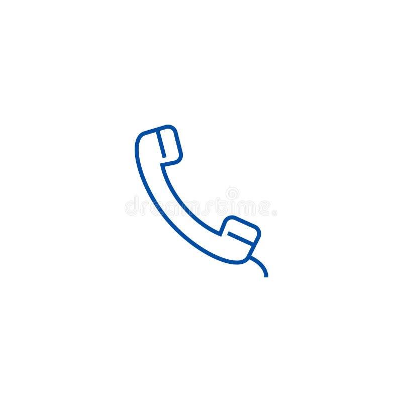 Telefonmottagarelinje symbolsbegrepp Symbol för vektor för telefonmottagare plant, tecken, översiktsillustration stock illustrationer