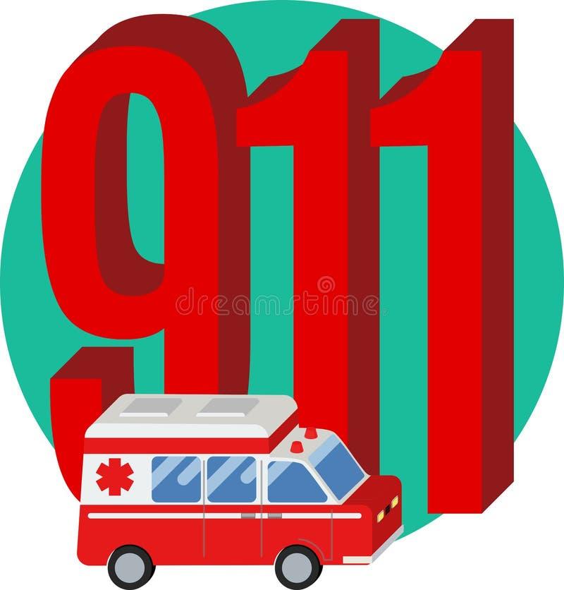 911 Telefonnummer lizenzfreie abbildung