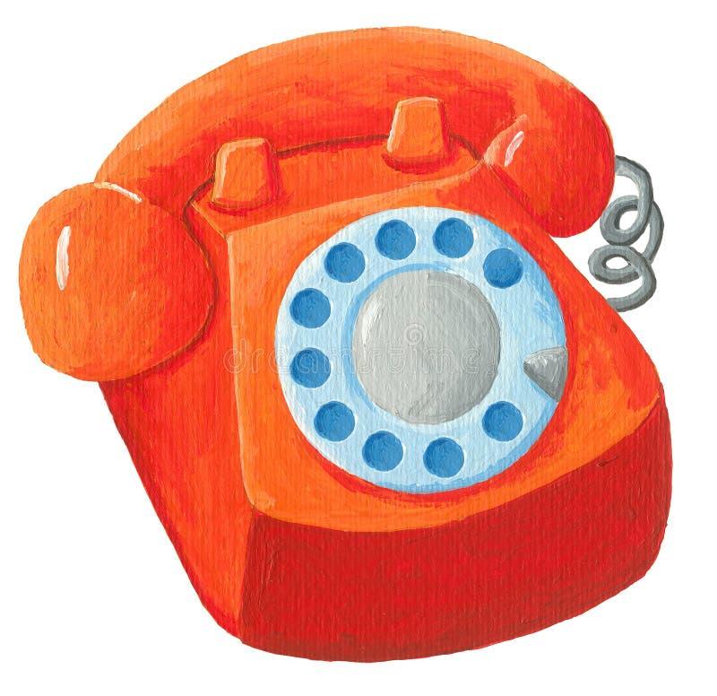 Telefono arancio da 70s illustrazione di stock