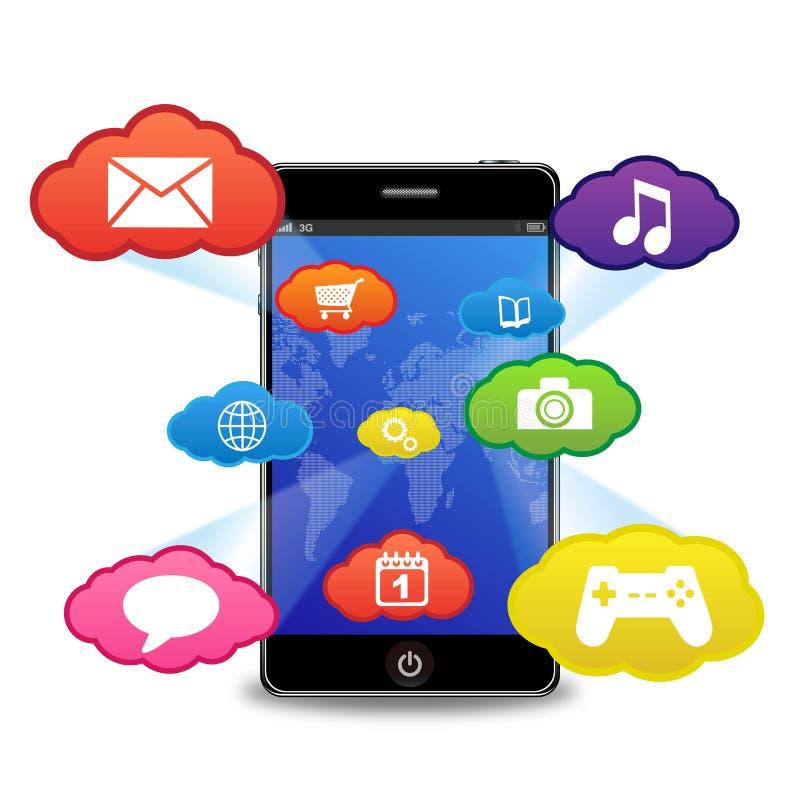 Telefono astuto con le applicazioni illustrazione vettoriale