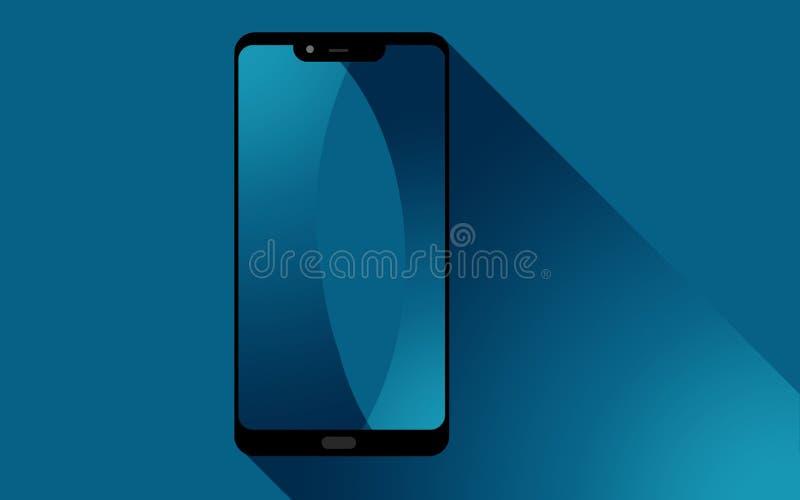Telefono astuto con lo schermo blu illustrazione di stock