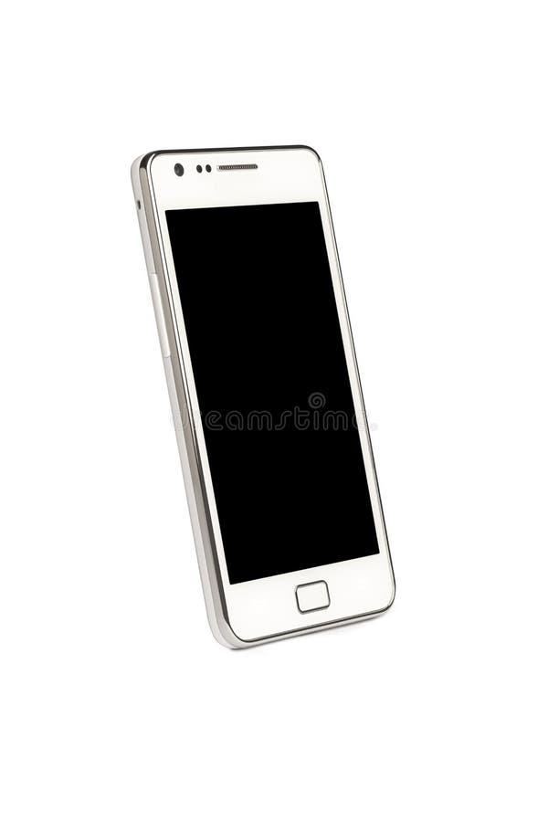 Telefono astuto con uno schermo in bianco isolato su bianco fotografia stock libera da diritti