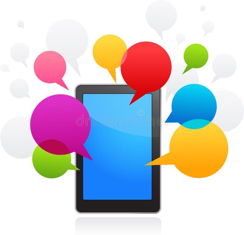 Telefono astuto di vettore con le bolle di discorso illustrazione di stock