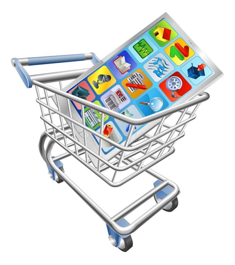 Telefono in carrello di acquisto illustrazione vettoriale