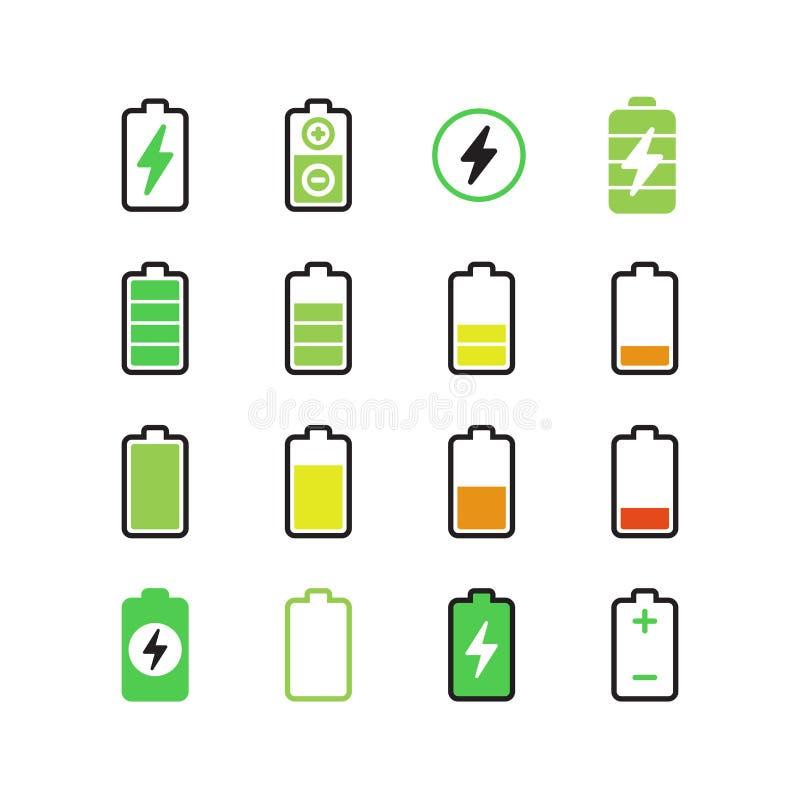 Telefono cellulare, carica elettrica dello smartphone, icone di vettore di energia della batteria illustrazione vettoriale