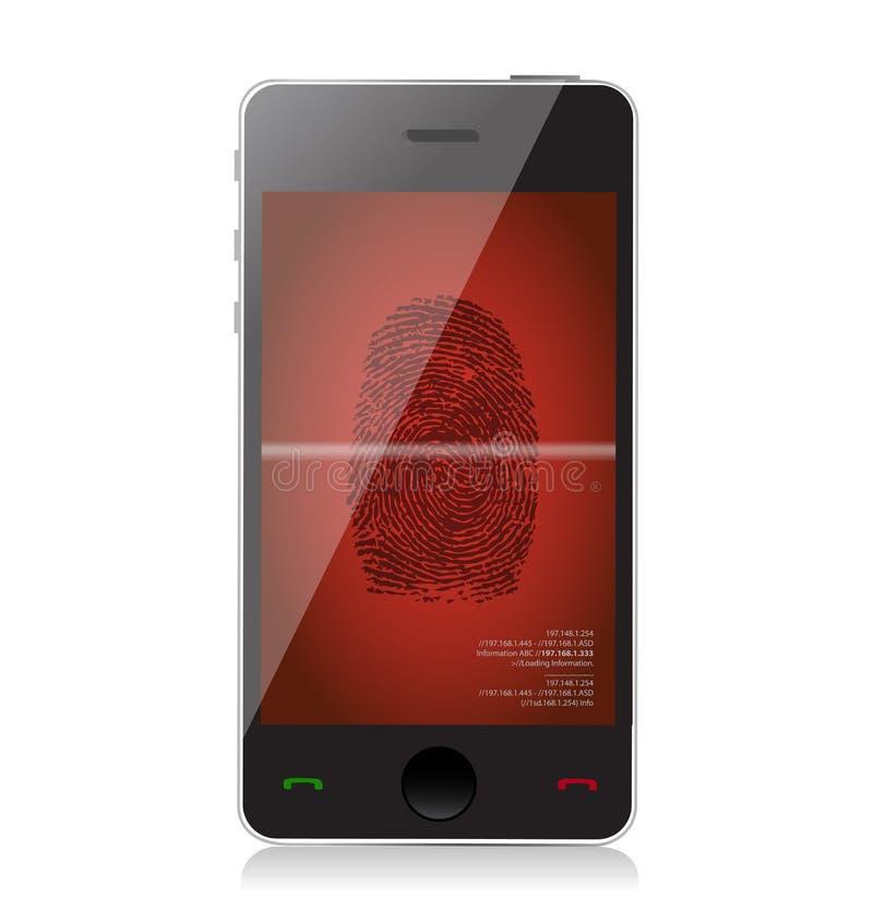 Telefono cellulare che esplora un'illustrazione dell'impronta digitale illustrazione vettoriale