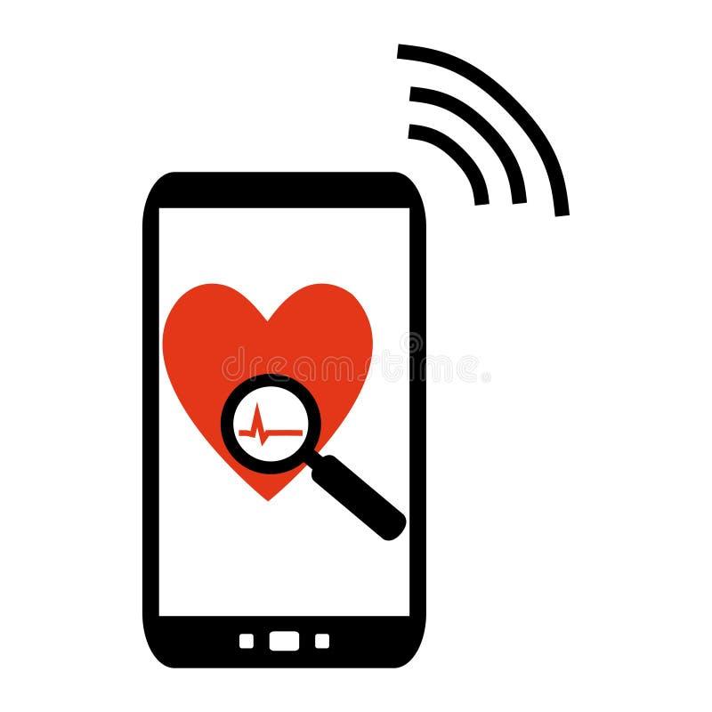 Telefono cellulare che invia i dati medici illustrazione vettoriale