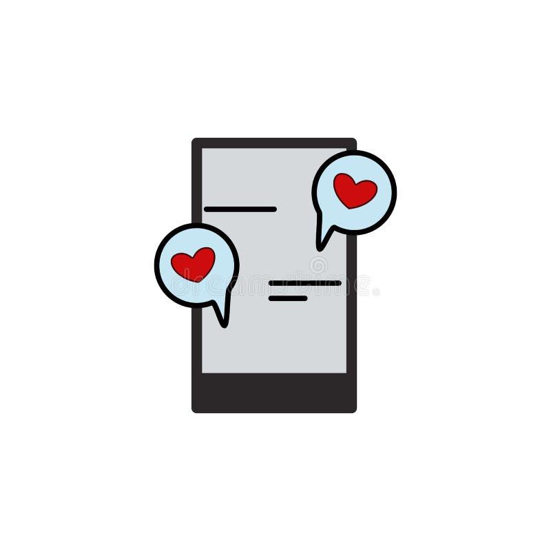 Telefono cellulare, chiacchierata, amore, icona di giorno dei valentine's del cuore Elemento del biglietto di S. Valentino di c illustrazione vettoriale