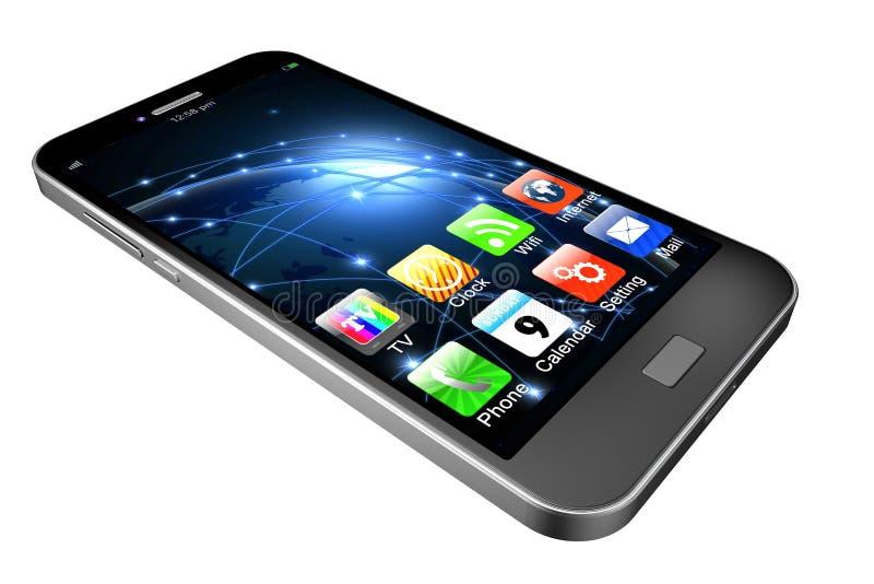 Telefono cellulare con i apps su fondo bianco, illustrati del telefono cellulare fotografie stock