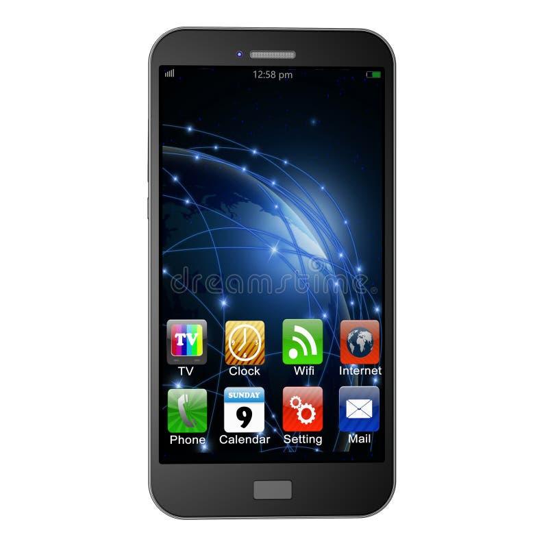 Telefono cellulare con i apps su fondo bianco, illustrati del telefono cellulare immagini stock libere da diritti