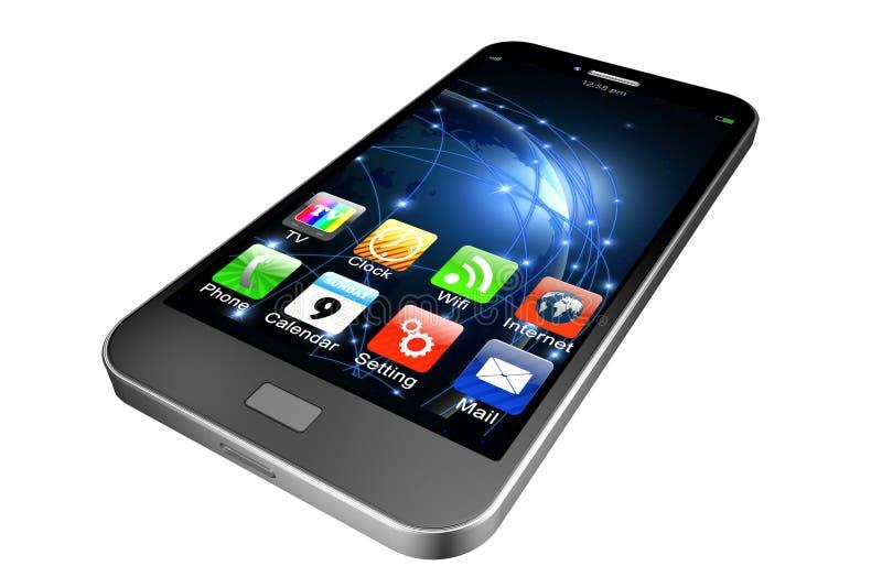 Telefono cellulare con i apps su fondo bianco, illustrati del telefono cellulare fotografia stock