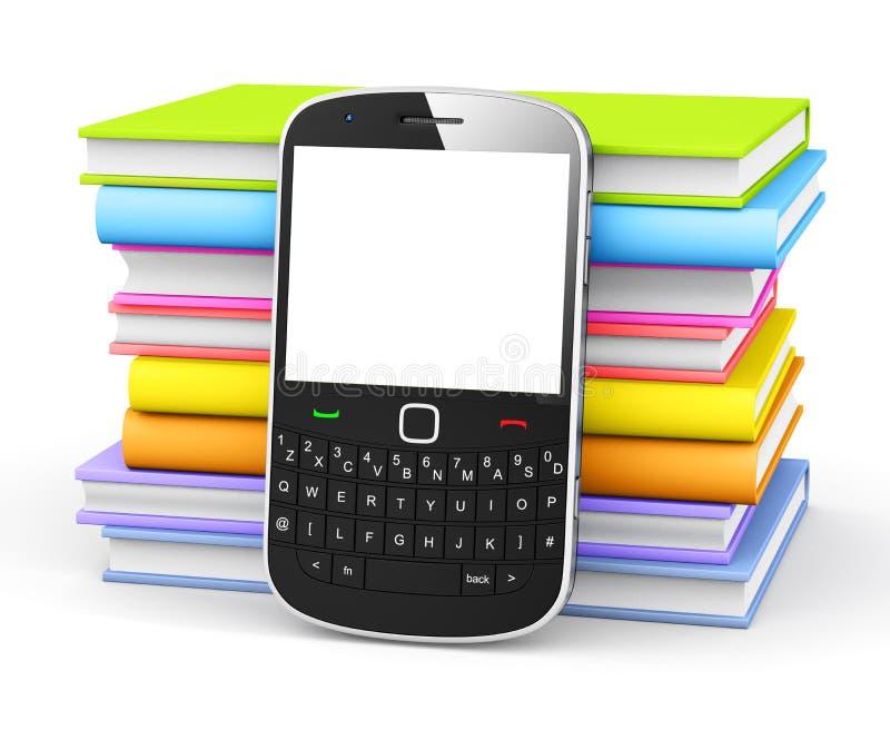 Telefono cellulare con i libri Colourful fotografie stock libere da diritti