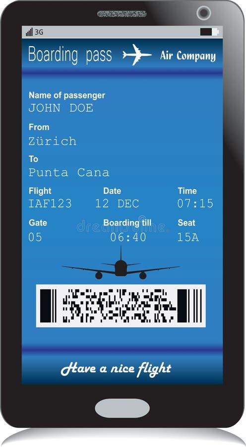 Telefono cellulare con il biglietto elettronico del passaggio di imbarco royalty illustrazione gratis