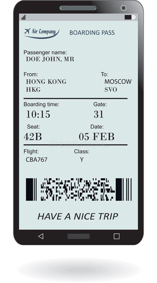 Telefono cellulare con il biglietto elettronico del passaggio di imbarco illustrazione vettoriale