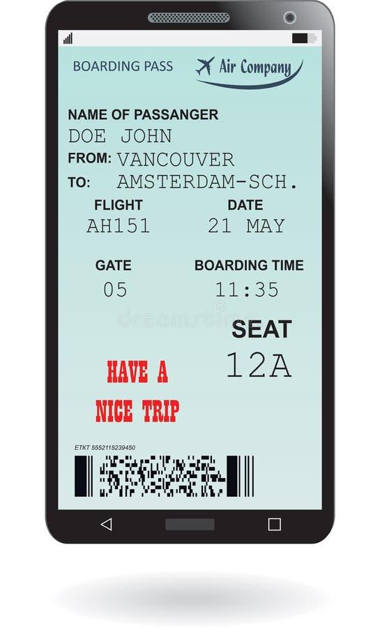 Telefono cellulare con il biglietto elettronico del passaggio di imbarco illustrazione di stock