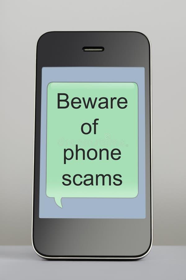Telefono cellulare con il fumetto del messaggio di raggiro fotografie stock libere da diritti