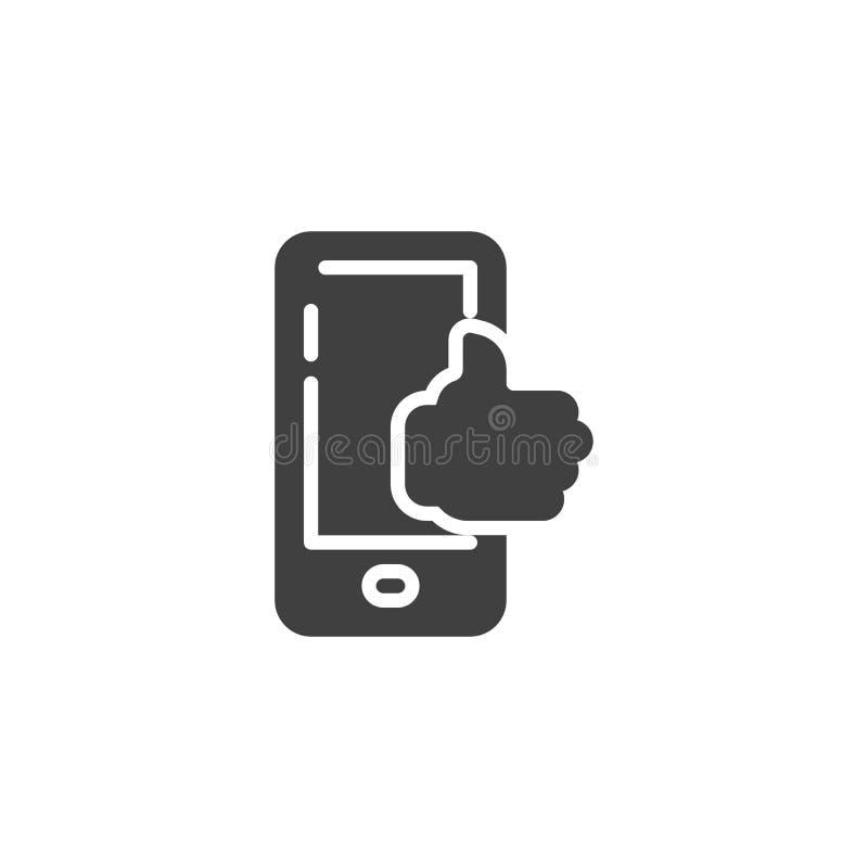Telefono cellulare con il pollice sull'icona di vettore illustrazione di stock