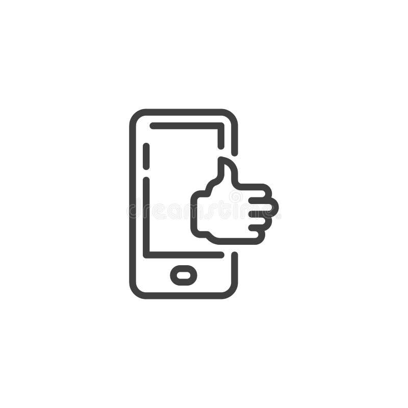 Telefono cellulare con il pollice sulla linea icona royalty illustrazione gratis