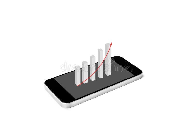 Telefono cellulare con l'aumento dell'istogramma finanziario sullo schermo, isolato su fondo bianco immagine stock libera da diritti