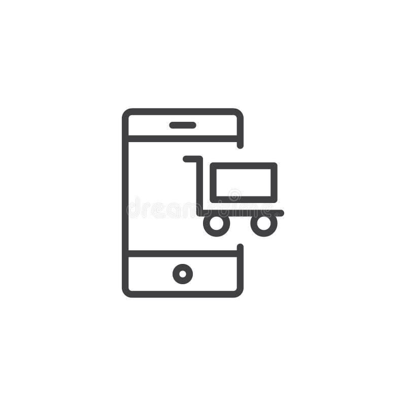 Telefono cellulare con l'icona del profilo del carrello illustrazione vettoriale