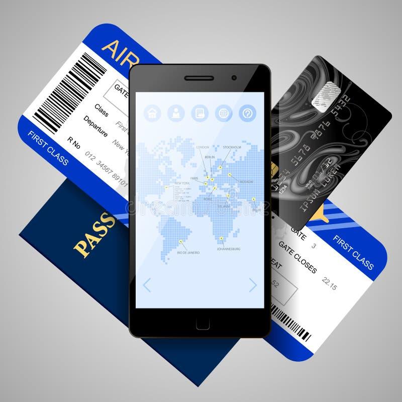 Telefono cellulare con la mappa di mondo sullo schermo, biglietto di aria, credito Ca royalty illustrazione gratis