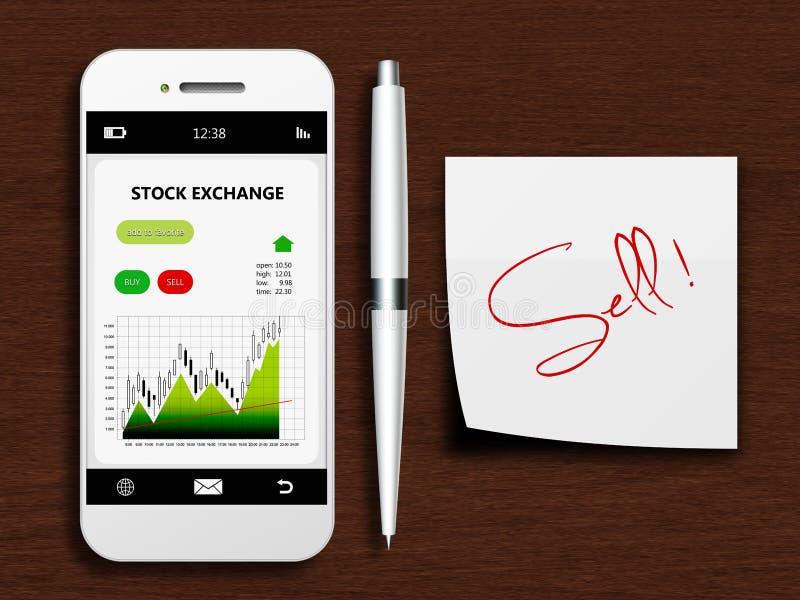 Telefono cellulare con lo schermo di borsa valori, la penna e la nota di vendita royalty illustrazione gratis