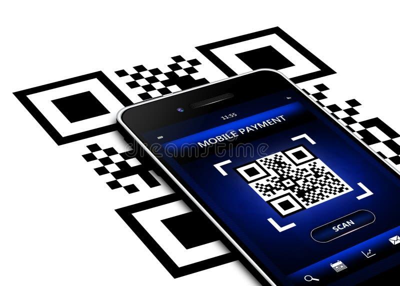 Telefono cellulare con lo schermo di codice del qr isolato sopra bianco illustrazione vettoriale
