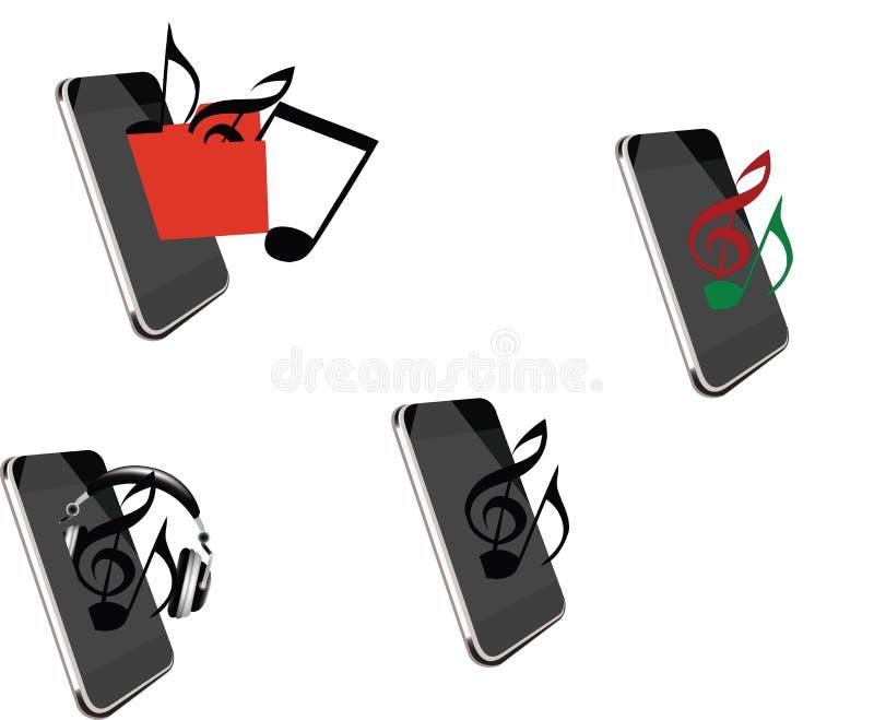 Telefono cellulare da ascoltare musica illustrazione vettoriale