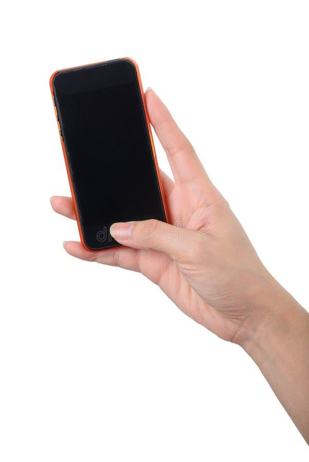 Telefono cellulare dello schermo in bianco a disposizione immagini stock