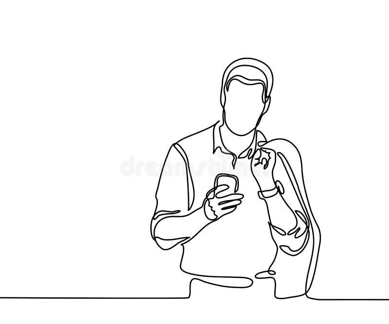 Telefono cellulare di lettura rapida del giovane illustrazione vettoriale
