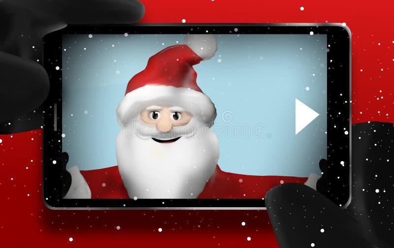 Telefono cellulare di punto di vista di Santa Claus Browsing Selfie Photos illustrazione vettoriale