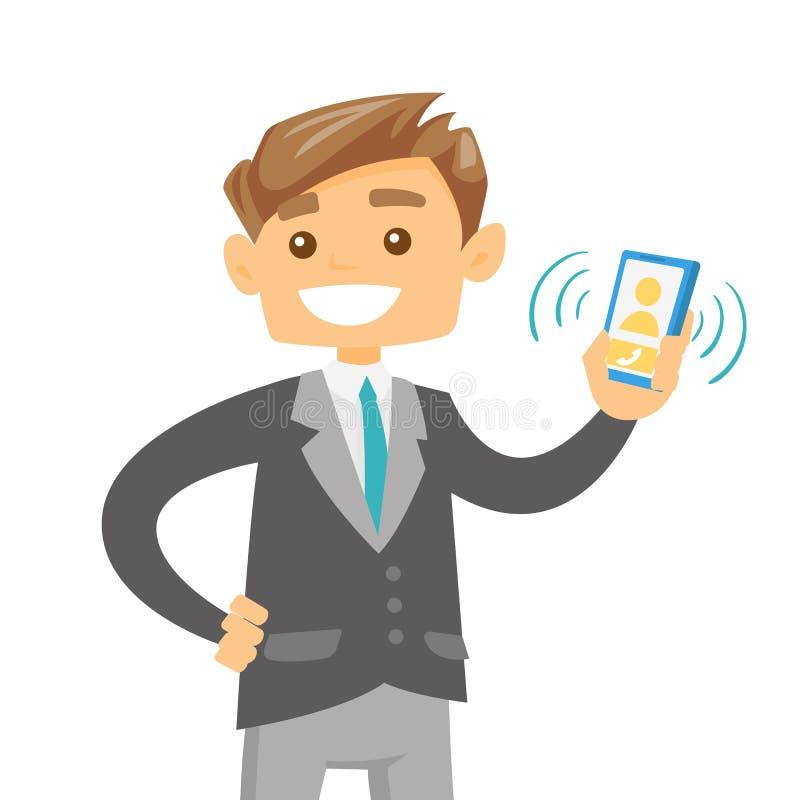 Telefono cellulare di squillo della giovane tenuta caucasica dell'uomo royalty illustrazione gratis