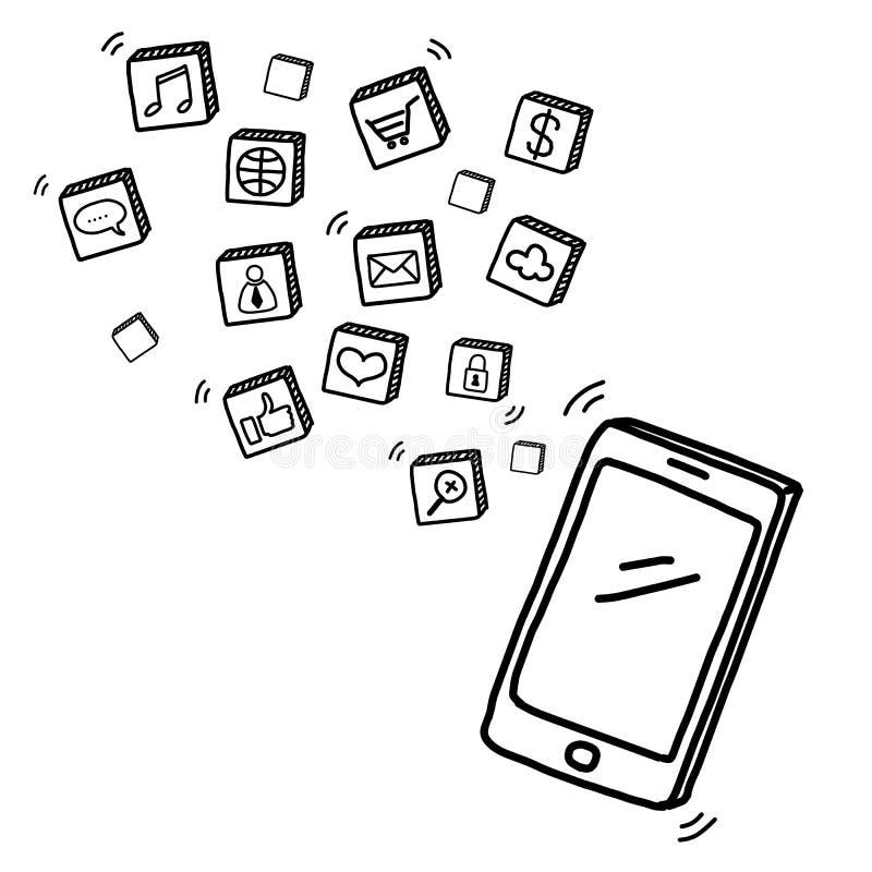 Telefono cellulare di tiraggio della mano con i media sociali royalty illustrazione gratis