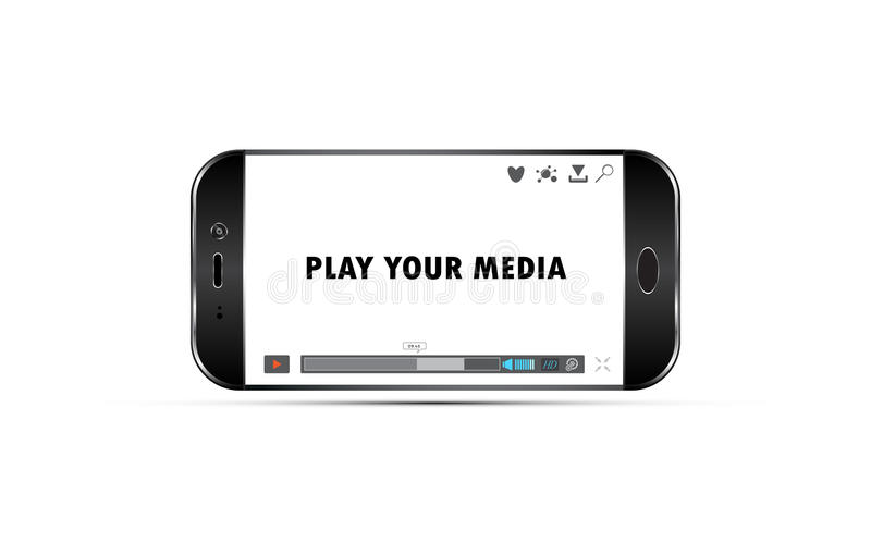 Telefono cellulare di vettore che gioca il modello del video di media royalty illustrazione gratis