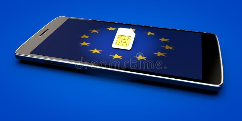 Telefono cellulare e carta SIM, abolizione di vagare nell'Unione Europea Bandierina dell'Europa immagini stock libere da diritti