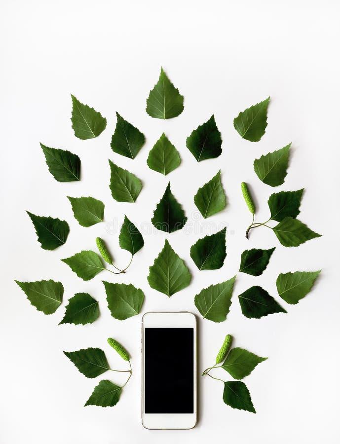 Telefono cellulare e modello verde delle foglie della betulla fotografie stock