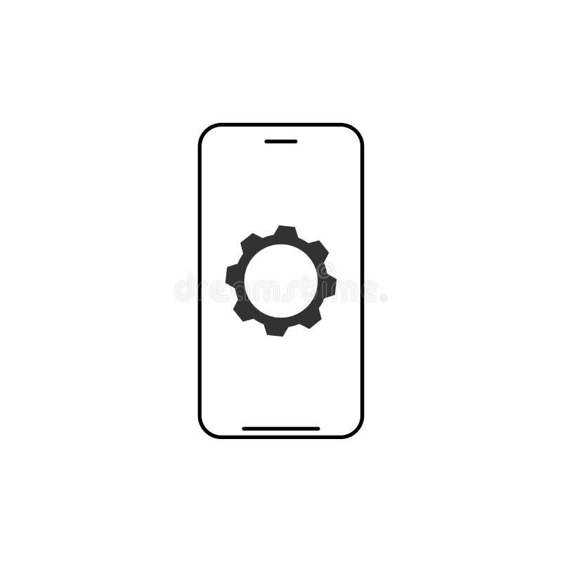 Telefono cellulare ed ingranaggio, smartphone e dente Segni moderni, simboli del profilo, linea sottile icone messe per i siti We royalty illustrazione gratis