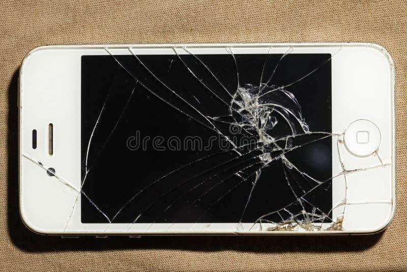 Telefono cellulare incrinato dello schermo fotografia stock