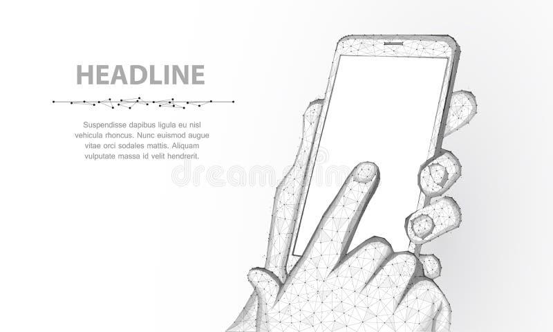 Telefono cellulare Telefono cellulare poligonale astratto del primo piano del wireframe con lo schermo vuoto bianco in bianco in  royalty illustrazione gratis
