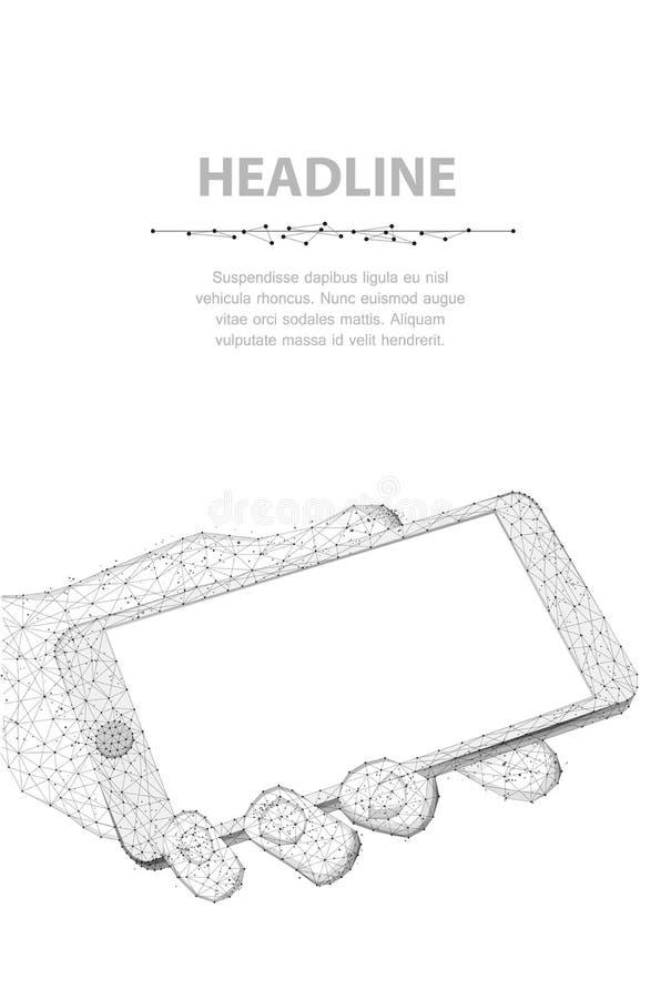 Telefono cellulare Telefono poligonale astratto del primo piano del wireframe con lo schermo vuoto bianco in bianco nel giudicare illustrazione di stock