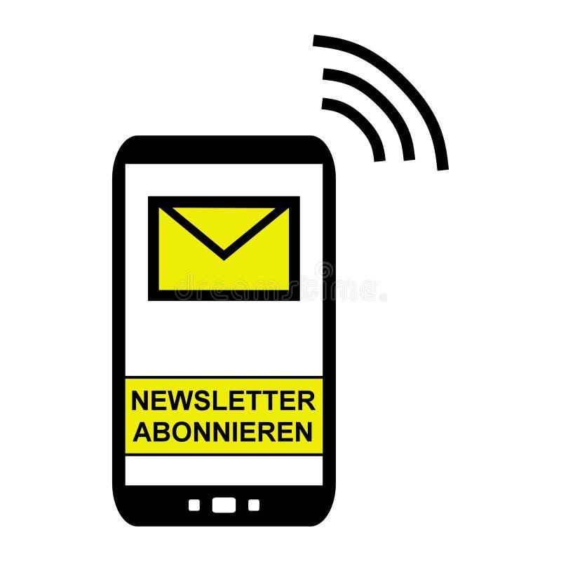 Telefono cellulare - sottoscriva al tedesco del bollettino illustrazione di stock