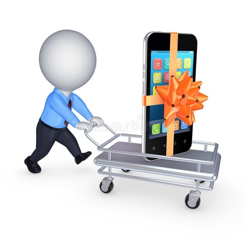 Telefono cellulare su un carretto a mano. royalty illustrazione gratis